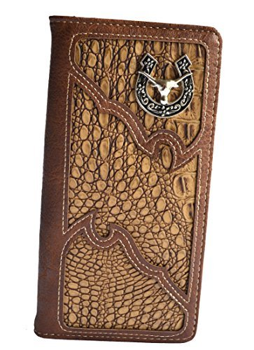 Stony West Men western rustic brown Texas longhorn concho studs slim long bifold wallet