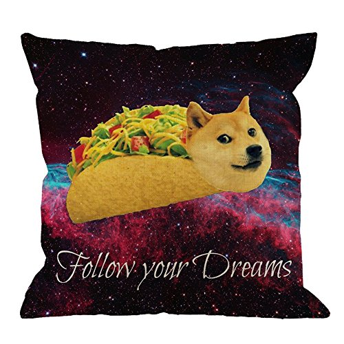 Doge Pillow Covers Decorative by Doge In Taco Chicken Rolls Flying Across The Galaxy Space Fllow Your Dream Amusing Cotton Linen Pillow Case for Men/Women/Kids 18x18 inch Black Yellow