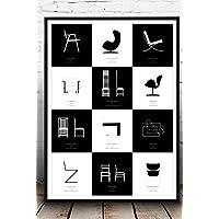 Stampa di un poster con collage di icone del design moderno. Stampa in stile nordico. Stile scandinavo. Design moderno. Poster design. Idea regalo