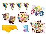 XXL Party Deko Set 1.Geburtstag Winnie Pooh Kindergeburtstag für 8 Personen Mädchen Junge