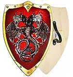 Kinder Doppel Kopf Drachen Ritter Wikinger Krieger Schild aus Holz Karneval Fasching