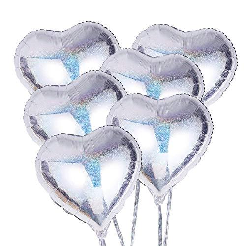 Sky-Grow Globos de Helio para el día de San Valentín con Forma de corazón de 18 Pulgadas para decoración de Bodas, cumpleaños, Fiestas, 6 Unidades (Plata)
