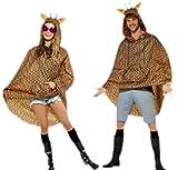 erdbeerloft - Unisex Damen Herren Giraffen Kostüm Regenponcho, One Size, Braun -
