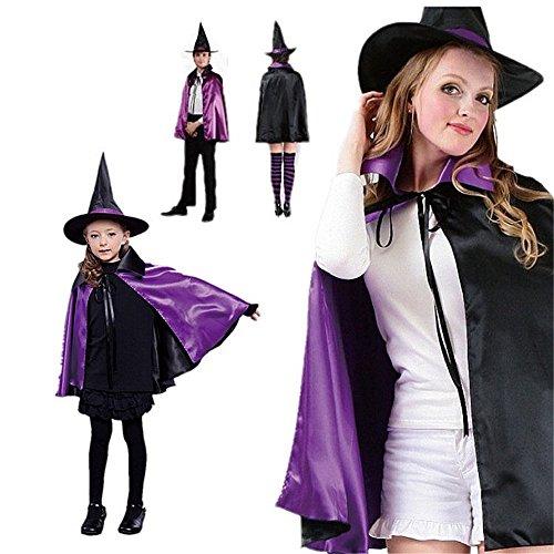 ELINKUME Halloween Cosplay Costumes Sorcière Sorcier Manteau avec Chapeau Taille Sélectionnée pour Les Adultes ou Les Enfants (Violet, Un Ensemble (Chapeau + vêtements)