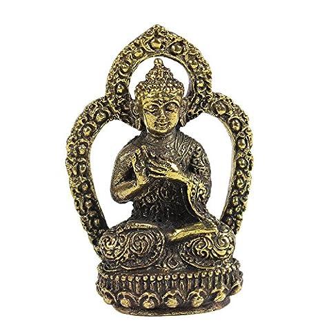 Buddha Messing Figur Messingbuddha Messingfigur Talisman Glücksbringer Buddhismus Skulptur Dharmachakra Mudra ca. 4,5 cm Höhe Nr. 1