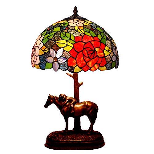 Rose Pony Tischlampe Tiffany Stil Antik Messing Effekt Basis Tischlampe Farbiges Glas Lampe Handbuch 12 Zoll Desktop Nachttischlampe E27 Schreibtischlampe mit Druckschalter -