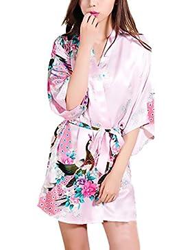 Camicia Da Notte Donna Kimono Estivo Elegante Chic Unique Stampa Fiore Corto Accappatoio Vestaglia V Scollo Con...