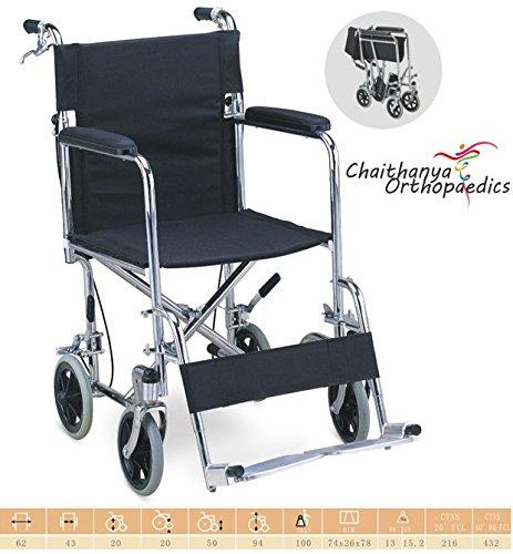 "Chaithanya Orthopaedics FC Premium Lightweight Steel Transport Wheelchair, Fixed Full Arms, 19"" Seat."