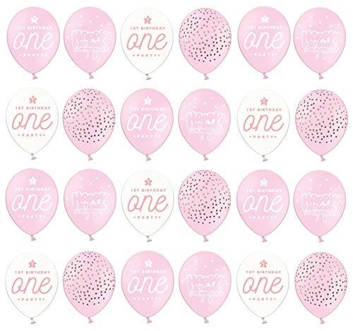 DaLoKu 24 Stück Luftballons Ø 30 cm Hochzeit Geburtstag Party Dekoration, Farbe: rosa - 1. erster Geburtstag