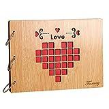 Libro per messaggi progetti artigianali per matrimonio con 30 pagine legno di mogano Far regalo con 30pagine, libro degli ospiti per matrimonio, 19,1x 26,7cm Love