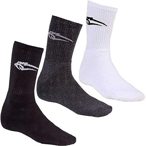 Smilodox Unisex Socken 3er Pack, Größe:One Size;Farbe:Anthrazit/Schwarz/Weiß