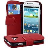 Samsung Galaxy S3 MINI Hülle in ROT von Cadorabo - Handy-Hülle mit Karten-Fach und Standfunktion für Galaxy S3 MINI Case Cover Schutz-hülle Etui Tasche Book Klapp Style in CHILI-ROT