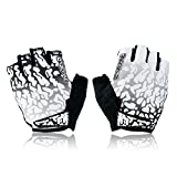 Eleoption Cycling Fahrrad Outdoor Sports Bicycle Flame Pattern Anti-Rutsch Breathable Half-Finger Handschuhe Weiß M