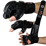 FOX-FIGHT Legend MMA Handschuhe professionelle hochwertige Qualität echtes Leder Boxhandschuhe Sandsack Training Grappling Sparring Kickbox Freefight Kampfsport BJJ Gloves schwarz, M