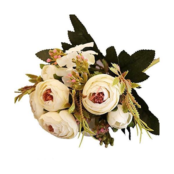 Luzoeo Flores Artificiales Decoracion Exterior Tiene un Toque Real Decorativas para Ramos de Boda hogar Hotel jardín…