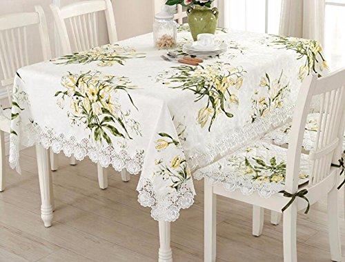 WFLJL Nappe Coton et lin dentelle Petit frais de style européen Rectangle Table à manger Rural 130*cm
