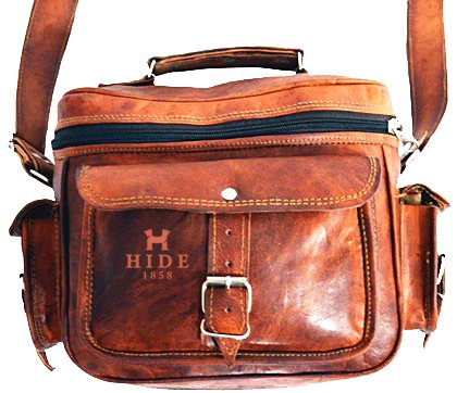 HIDE 1858 TM Genuine Leather Camera Bag Dark Tan 9\