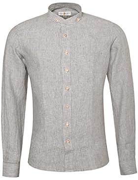 Almsach Leinenhemd Trachtenhemd Slim Fit Achim in Braun