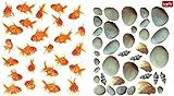1art1 84559 Fische - Goldfische, Kieselsteine Und Muscheln Wand-Tattoo Aufkleber Poster-Sticker 120 x 60 cm