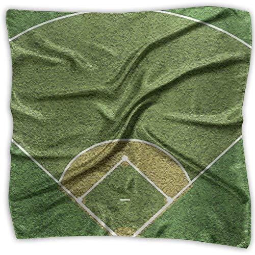 Green Grass Baseball Court Womens Large Square Satin Head Bandanas Silk Like Neck Bandana Court Womens-rock