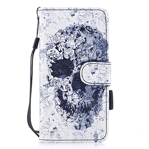 Custodia iPhone 6, iPhone 6S Cover Wallet, SainCat Custodia in Pelle Flip Cover per iPhone 6/6S, Ultra Sottile Anti-Scratch Book Style Custodia Morbida Cover Protettiva Caso PU Leather Custodia Libret Testa del Cranio