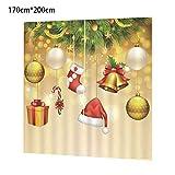 libertey Sonnenschutz Blickdichte Vorhänge, Weihnachtsbaum Muster 3D Digital Printing für Badezimmervorhang Wohnzimmer kinderzimmer Weihnachten Schmuck by