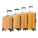 4 teiliges Koffer Set von Jalano Reisekofferset ineinander stapelbar Gepäck-Set Koffer Trolley Hartschale, Farbe: orange