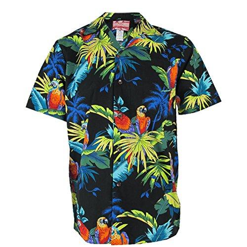 Robert J. Clancey Black Parrot Rockabilly Authentic Hawaiian Shirt S-4XL