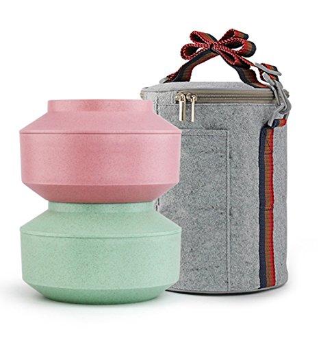 AJUNR-Schöne Edelstahl 304 Lunch Box Bento Box Erwachsener Kann Mikrowelle Erhitzen, Instant Noodle Bowl Pulver Grünen Möbeln Bento (Kaninchen Maske Kunststoff)
