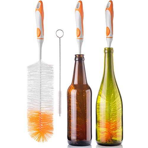Flaschenbürstenreiniger für Wasserflasche, 43,2 cm (17 Zoll), mit weichem Griff, um alle langen, schmalen Hals, Bier, Wein, Kombucha, Dekanter, Krug und kleine Reinigungsbürste -
