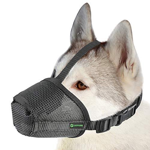 RockPet Bozal para Perro de Malla de Nylon con Correa Encima de la Cabeza para Perros Pequeños, Medianos y Grandes - Evita Morder, Ladrar y Masticar (S,Negro)