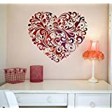 Printelligent Wall Sticker Heart Shape For Bed Room Kids Room Living Room Hall Walls 'Heart Floral' (Pvc Vinyl, 60 Cm X 60 Cm)