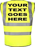 PERSONALISED with any name CHILDRENS HIGH VISIBILITY WAISTCOAT /VEST (HI VIS)yellow
