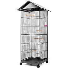 Voliera gabbia per uccelli roditori, dimensione esterna circa 66 x 66 x 155 cm, interna 52 x 52 x 130 cm