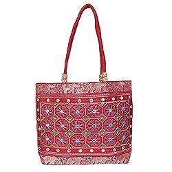 Womaniya Ethnic traditional Handicraft Handbag for Women Girl (Maroon)