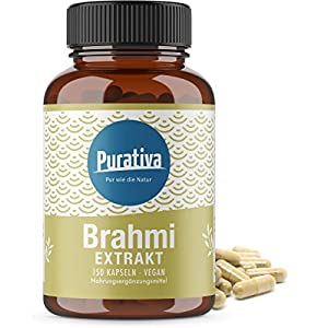 Brahmi Extrakt Kapseln hochdosiert – mit 20% Bacoside – 150 Kapseln. 200mg Bacoside pro Tagesdosis – Bacopa Monnieri – Keine Zusätze wie Magnesiumstearat – 100% Vegan