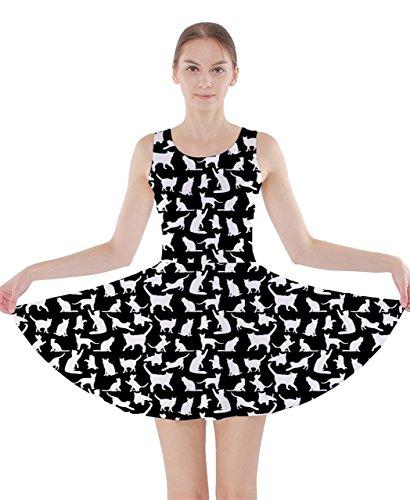 CowCow Damen Kleid Weiß Weiß Schwarz