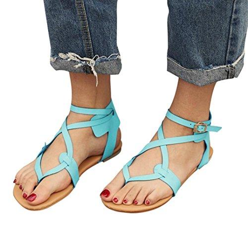 Beikoard promozione della moda sandali donna taco sandali da spiaggia allacciati traspiranti da donna con tacco alto da donna (blu, 41)