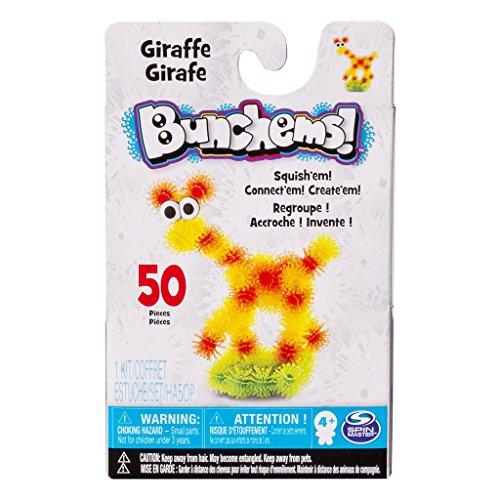 Bunchems Spin Master Pet Pals - Niedliche Tierchen zum Zusammenkletten - Giraffe Krokodil und Strauße - 50 Stück pro Pack (Giraffe)