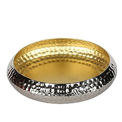 Windlicht Dekoschale silber/gold Kerzen Schale Teelichthalter (1, ø43/H10cm)