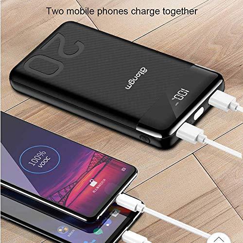 atongm 20000mAh Portable Double USB Port Li-Polymer External Battery Power Bank with Digital Display for Mobile Phones (Black) Image 2
