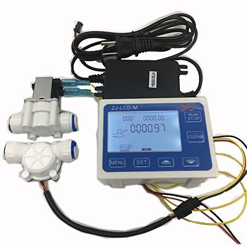 TuToy 3/8 Flow Sensor+Zj-Lcd-M Flow Meter Controller + Soleniod Valve + Power Charger Lcd Display For Water Liquid Measurement