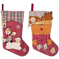 Idea Regalo - MELLIEX 2pcs Calza di Natale Calza di Natale Personalizzata di Grandi con 20pcs Etichette Regalo per la Decorazione della Festa di Casa Natale
