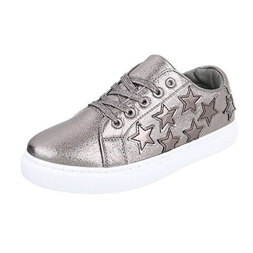 Ital-Design - Low-top Donna grigio argento