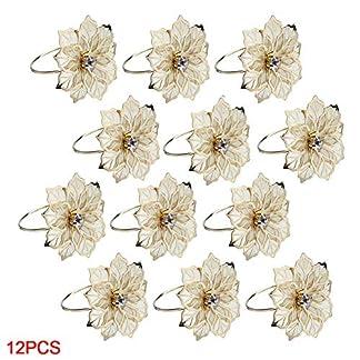12 piezas de anillos de servilleta de aleación floral, servilletero de metal de diseño rosa para banquete de boda Decoración de cena de Navidad Favor (oro)