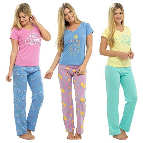 Da donna a maniche corte, in Jersey, con stampa divertente Set pigiama Giallo
