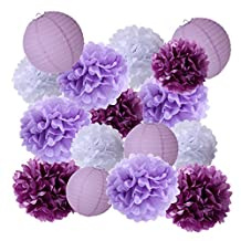 • 15Pcs Party Pack Paper Lanterns and Pom Pom Balls Hanging Decoration for Halloween Wedding Birthday Baby Shower-Light Pink/Lavender/White