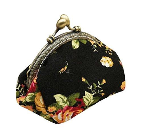 Preisvergleich Produktbild Tongshi Retro Frauen Shell Shape Flower Design Münze Geldbeutel Geldbörse Bag Münze Pocket (schwarz)