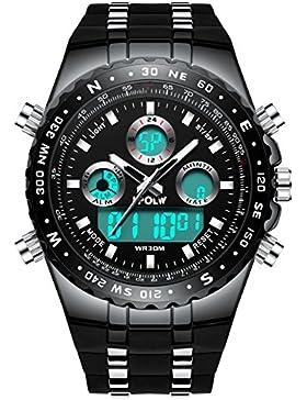 [Gesponsert]Herren Uhren Militär Wasserdichte Sport Analog Digital Groß Uhr Männer Dual Display LED Licht Stoppuhr Army Shock...