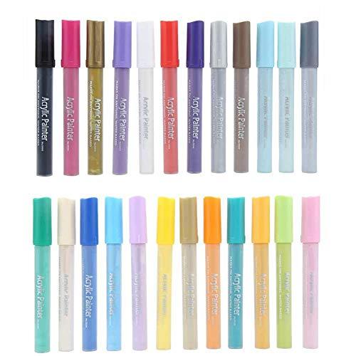 Acrylfarbe Marker Set, 12/24 Farben Wasserbasis farbige Marker Stifte für Tuch Rubber Rock Malen und Zeichnen auf jeder Oberfläche wie Kunststoff, Glas, Keramik, Holz(24 Farben)
